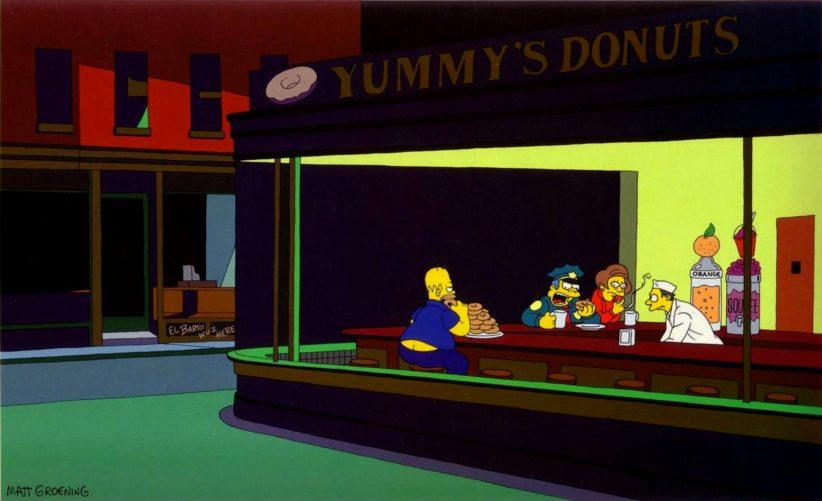 Nighthawks di Eduard Hopper in versione Simpsons