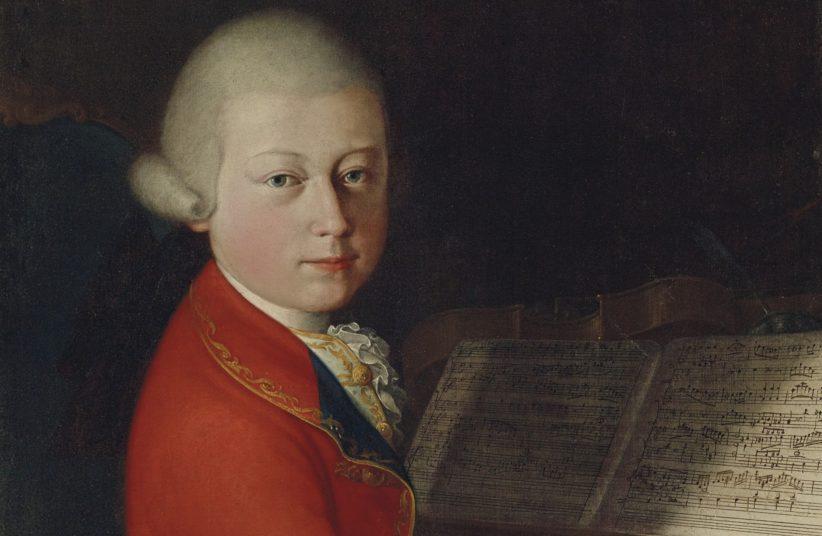 Particolare del ritratto di Mozart di Giambettino Cignaroli