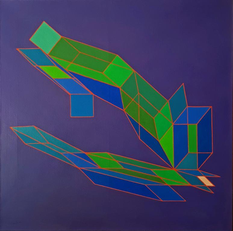 Perilli - Il passaggio della visione Tecnica mista su tela cm 100x100 1987