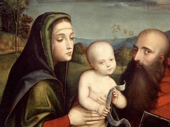 Buon Natale postale d'artista con la Madonna con Bambino de il Francia