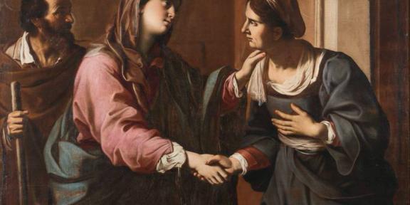 """Lotto 41 - Antiveduto Gramatica, """"La visitazione"""", olio su tela. Stima € 12000-18000"""