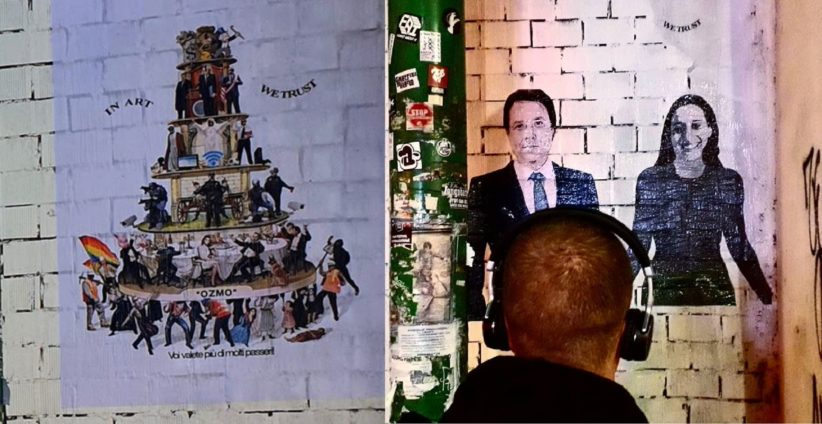 confronto tra il murale di Cristina Donati Meyer e oOzmo