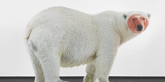Katja Novitskova, Approximation (polar bear) 2017, digital print on aluminum, cutout display, acrylic glass 148x226x38 cm, Collezione Sandretto Re Rebaudengo
