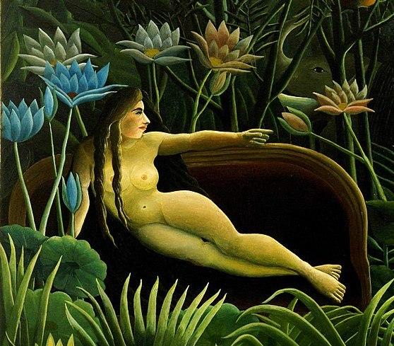 """Una donna nuda su un divano in mezzo alla giungla. """"Il sogno"""" di Henri Rousseau"""