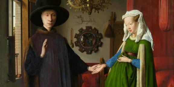 Particolare del Ritratto dei coniugi Arnolfini, di Jan Van Eyck