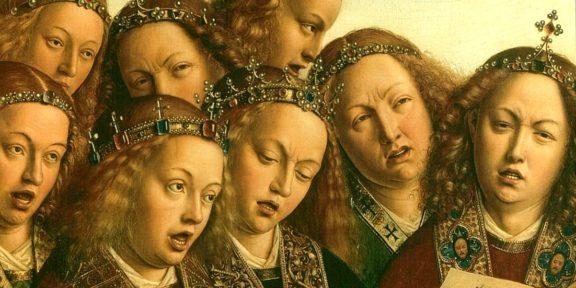 Particolare del polittico dell'Adorazione dell'Agnello Mistico, di Jan van Eyck