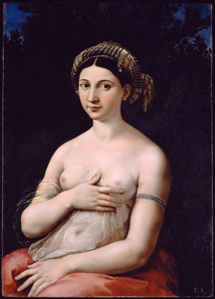 Raffaello Sanzio (Urbino 1483 - Roma 1520), La Fornarina, 1520 ca., olio su tavola