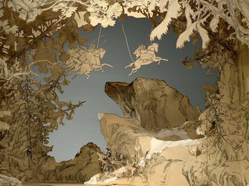 """AlphonseViscontietEugèneFrey Maquettededécorpour""""LaWalkyrie"""",Acte III,3èmeet4èmetableaux,ca.1909 Maquetted'étude,crayongraphiteetencre 37x60,5x60,5cm Monte‐CarloSociétédesBainsdeMeren dépôtpermanentauNMNM,n° D.2010.3.150 Photo:FrançoisFernandez"""