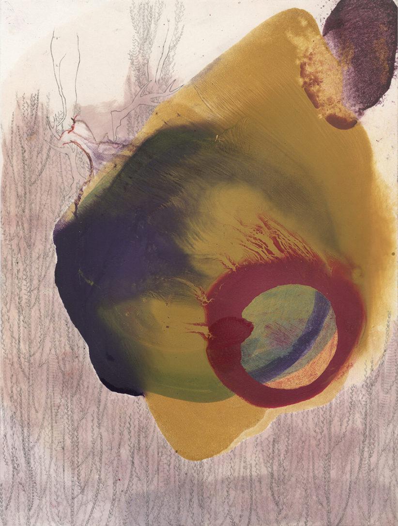 Singing over the Bones, 30x23, olio, carboncino e grafite su carta, 2019 Courtesy MARTINASGALLERY.
