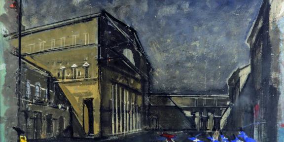 Carlo Mattioli - Il Teatro Regio - tecnica mista su carta - Collezione privata___Parma2020
