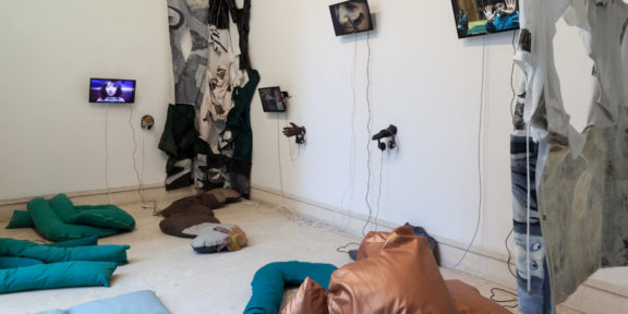 Liv Schulman, Le Goubernement, 2019, Video HD, six channels installation. Exhibition view, A plus A Gallery, Venice, photo credits Angela Colonna