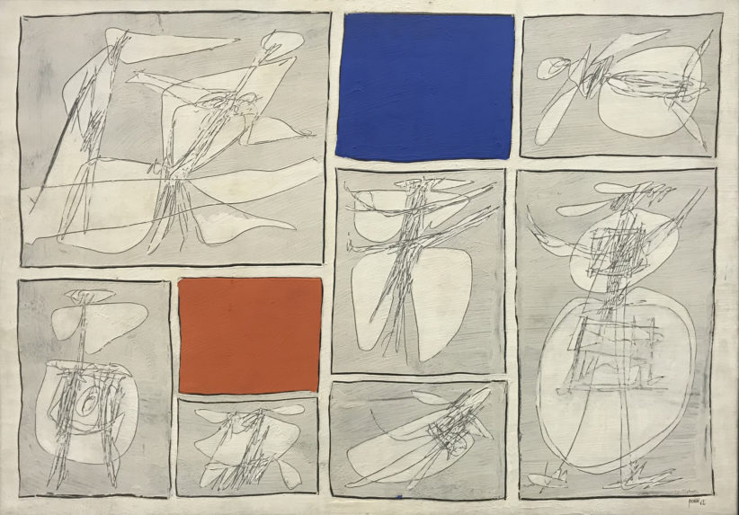 Achille Perilli, Senza titolo 1962 carta intelata 70x100 cm