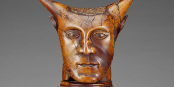 Particolare della Tête à cornes finora attribuita a Gauguin