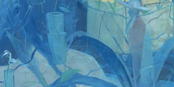 Thomas Berra - Il Monta i vasi e lo steccolecco, 2019 - Olio su tela di lino, cm. 145 x 205 - ph. Cosimo Filippini