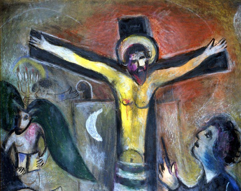 Marc Chagall (Vitebsk 1887 – Saint-Paul de Vence 1985), Le Christ et le peintre, 1951, gouache e pastelli su carta applicata su cartoncino; © Governatorato SCV Direzione dei Musei