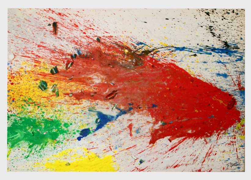 Shozo Shimamoto, Capri-Certosa13 (2008) acrylic on light canvas 185x274 cm Courtesy Cardi Gallery