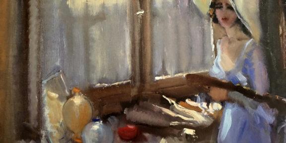Carla Maria Maggi nello studio, 1938, olio su tela 35 x 55 cm