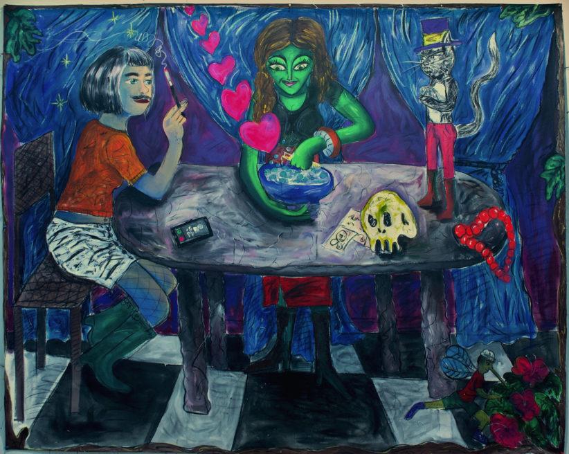 Fiorino, Pozione d'amore , acrilico fusaggine gessi pastelli su tone grezzo , 178x199cm