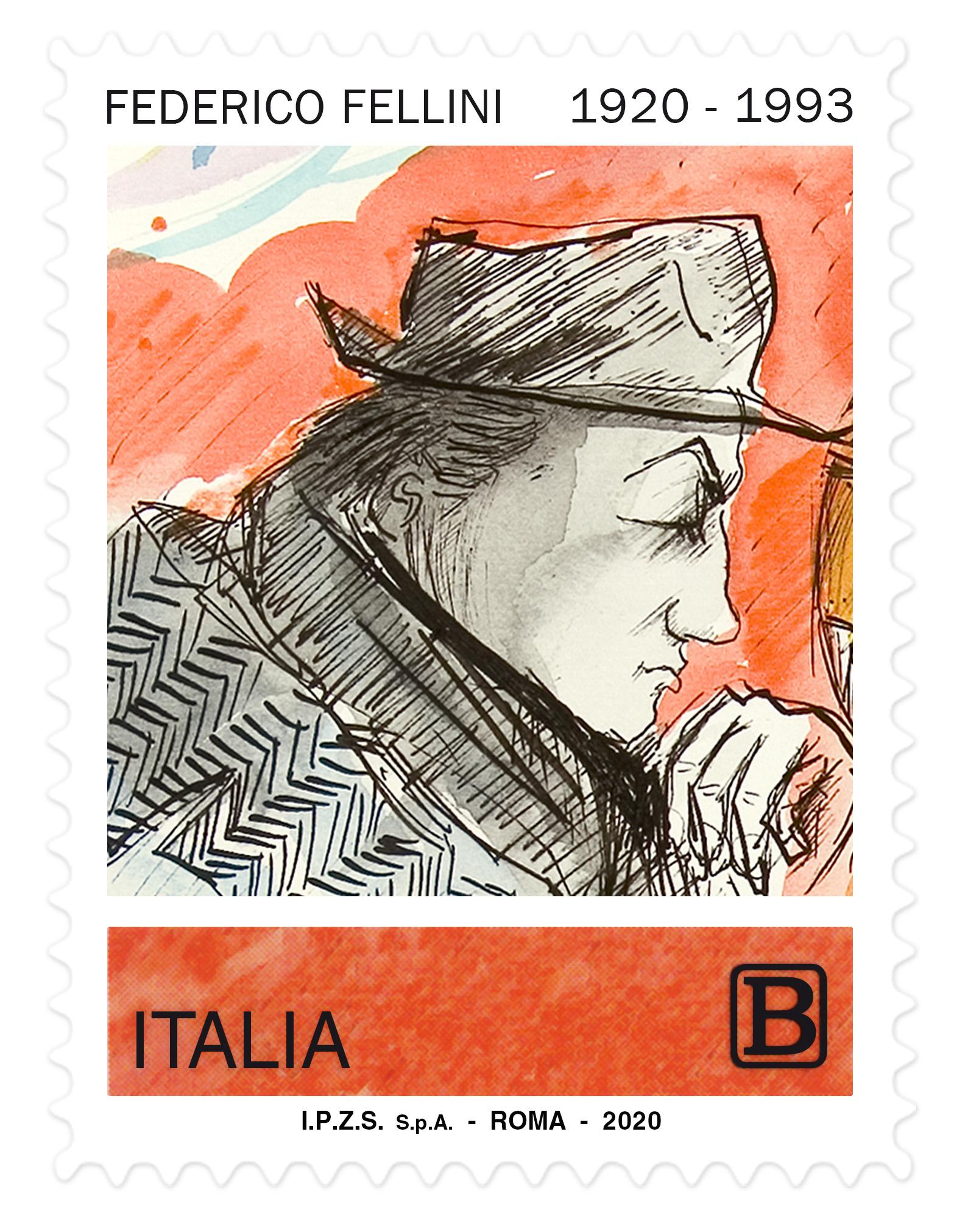 Il francobollo con l'autoritratto di Federico Fellini in ricordo del secolo della nascita