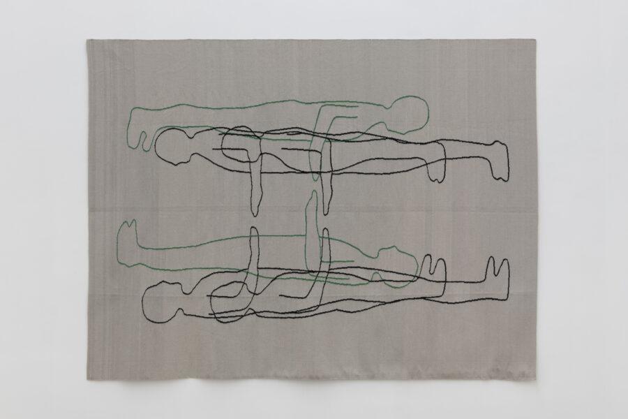 Esther Kläs, green/black, 2017, wool, 240 x 185 cm - Courtesy Fondazione Giuliani Roma, ph. Giorgio Benni