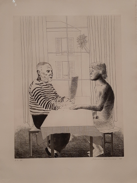 David Hockney, Artist and model, Disegno, 1973-4, Collezione The David Hockney Foundation