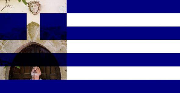 Bruno Ceccobelli con la sua opera Grecia, 2015, (particolare)