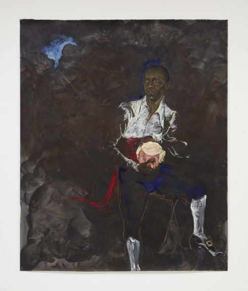 "Kara Walker, Barack Obama as Othello ""The Moor"" With the Severed Head of Iago in a New and Revised Ending by Kara E. Walker (2019). © Kara Walker, courtesy of Sikkema Jenkins & Co., New York."