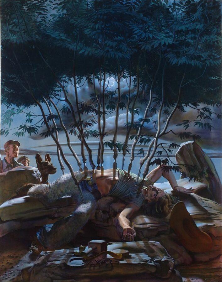 Nicola Verlato, Metamorphosis, olio su tela, 2005, 244x183 cm