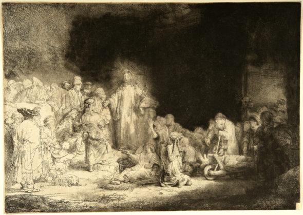 Rembrandt (Leida, 1606 – Amsterdam, 1669) Cristo che guarisce gli ammalati – La stampa da cento fiorini, 1648 acquaforte, puntasecca e bulino, cm. 28,3x39,7 – 2º stato Roma, Istituto centrale per la grafica, fon