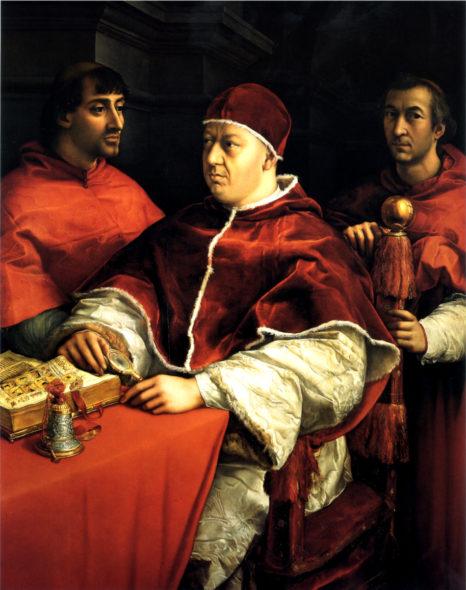 Raffaello Ritratto di Leone X tra i cardinali Giulio de' Medici e Luigi de' Rossi