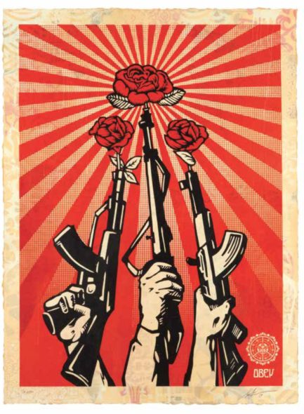 Shepard fairey. 3 Decades of dissent (1989-2019) Shepard Fairey Guns and Roses, 2019 Edition of 19, serigrafia e collagesu carta, hpm, 76 x 104 cm