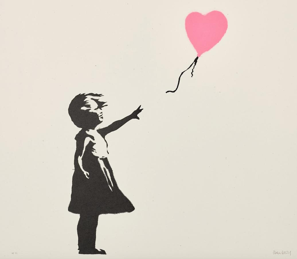 Banksy: 1,1 milioni per l'asta online. Top price per la ragazza con il palloncino. Rosa, però