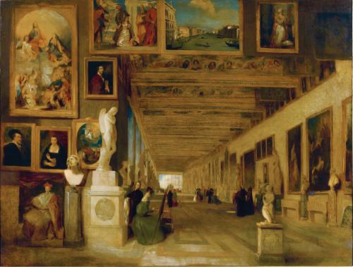 davis the long gallery at the uffizi, florence, j. scarlett davis, 1834