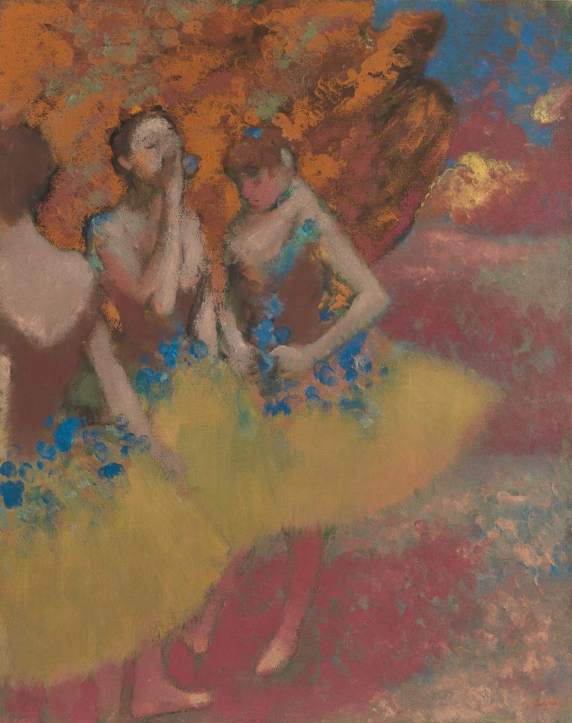 Tre ballerine con gonna gialla, ca.1891, olio su tela di Edgar Degas