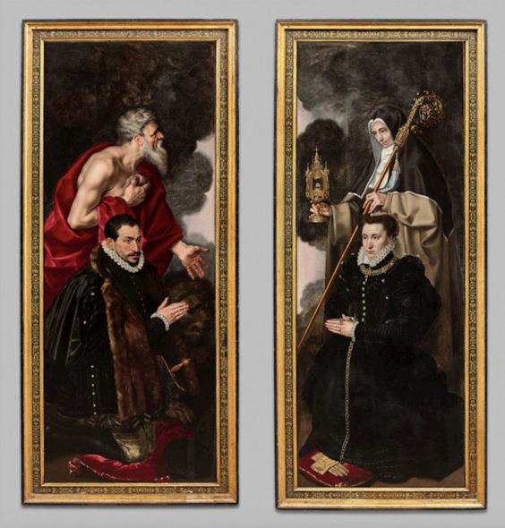 Anthonis Mor: Wings Of An Altarpiece: Male Donor With Saint Jerome And Female Donor With Saint Clare (exterior: vanitas scenes). Oil on panel, 208.5 x 77.5 cm (82 x 30.5 in.). Nicolás Cortés