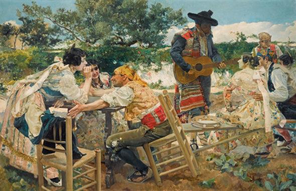 Joaquín Sorolla: Valencian Fiesta, Oil on canvas, 120 x 198 cm (47.2 x 78 in.). Spain, 1893. López de Aragón
