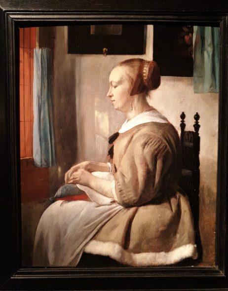 Gabriel Metsu, Donna che cuce alla finestra, da Fergus Hall