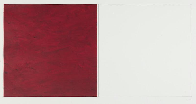 Carmen Gloria Morales, Rosso, 1971. Tecnica mista su cartoncino. 70 x 100 cm. Courtesy Il Segno, Roma.