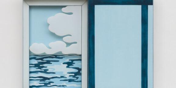 Laura Grisi, Seascape, 1966. Acrilico su tela, plexiglas, pannelli scorrevoli. 100 x 122 x 12. Courtesy P420, Bologna.