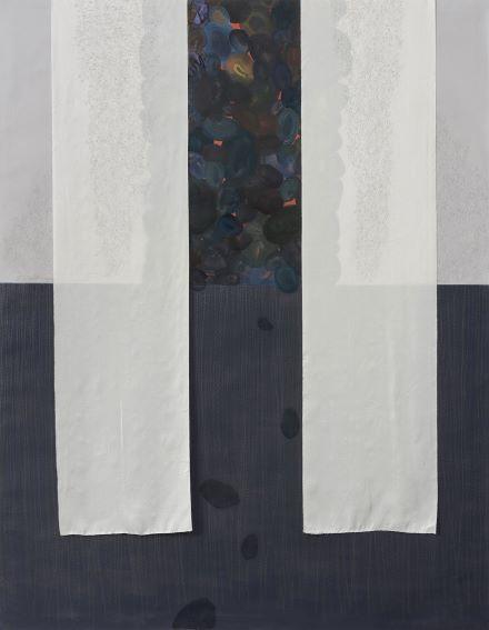 inging over the Bones, 154x120 cm, acquerello, olio, carboncino e grafite su tela e seta, 2019 Courtesy MARTINASGALLERY Foto di Cosimo Filippini