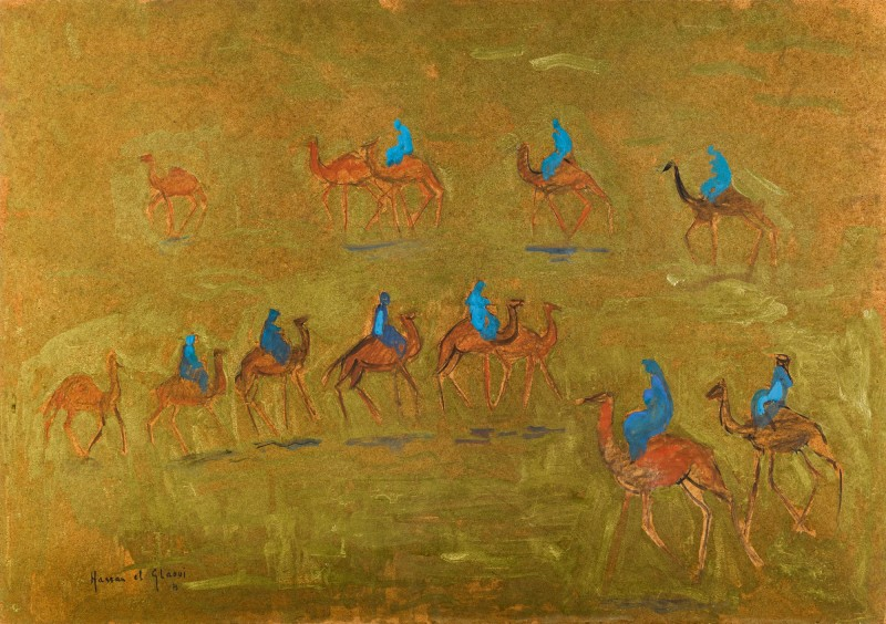 Asta Sotheby's arte africana 2020 Hassan EL Glaoui, Dromedaries, 1975
