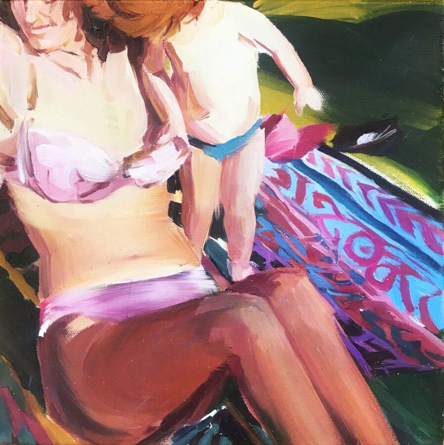 A Curious boy, olio su tela, 30x30cm, 2020, courtesy l'artista, Boccanera Gallery
