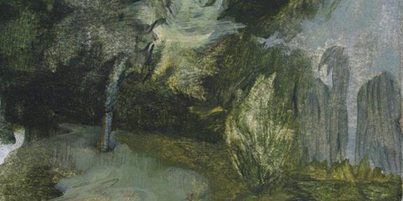 Alice, Faloretti, Camminando, 2018, olio su carta, 21 x 14,5 cm
