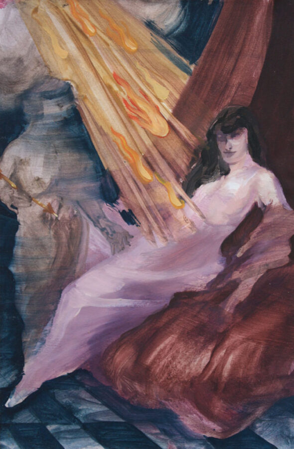 Barbara De Vivi Disegno dall'archivio (Estasi), 2018, olio su carta, 30×20 cm