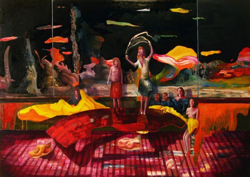 Chiara Sorgato, Travagliare, olio su tela 140x90 cm, 2018