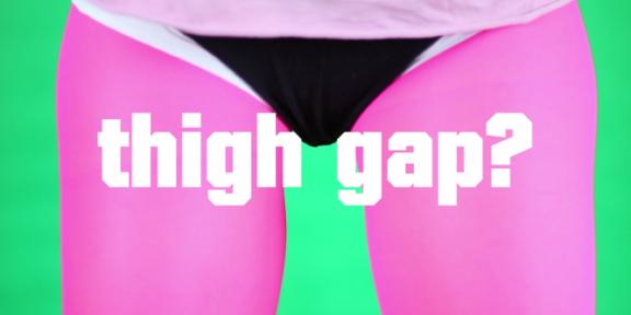 "Corinne Mazzoli, ""Tutorial #1 How to get a Thigh Gap"", 2013, still da video"