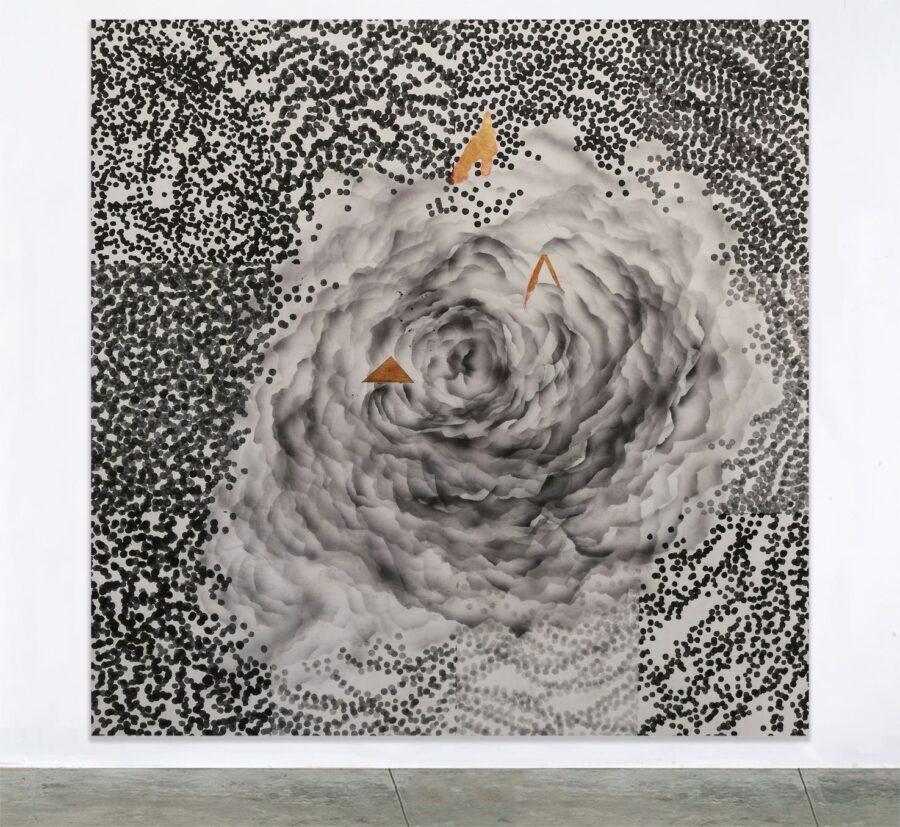 Creazione, inchiostro organico acrilico e foglia oro su tela, 150x150 cm, 2019