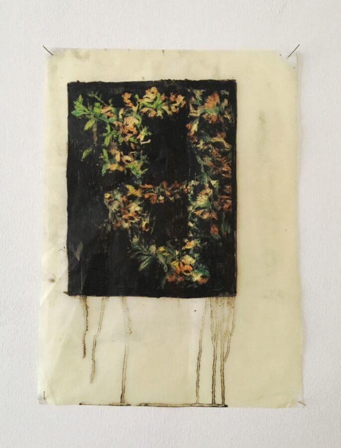 Elena, Hamerski, Foresta Nera (corona), 2016, olio di lino, pigmento nero, pastelli acquerellabili su carta, 41x29cm