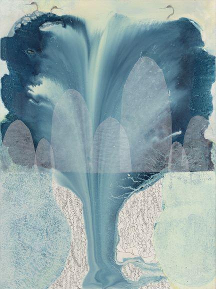 Elisa Bertaglia - Out of the Blue, 30x23 cm, collage, olio, carboncino e grafite su carta, 2016 Courtesy Officine dell'Immagine