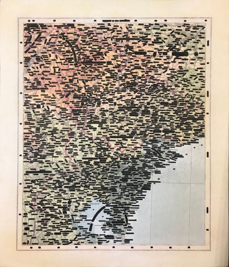 Emilio Isgrò - Verso Lovanio (2007) tecnica mista su tela, cm 75,5x62
